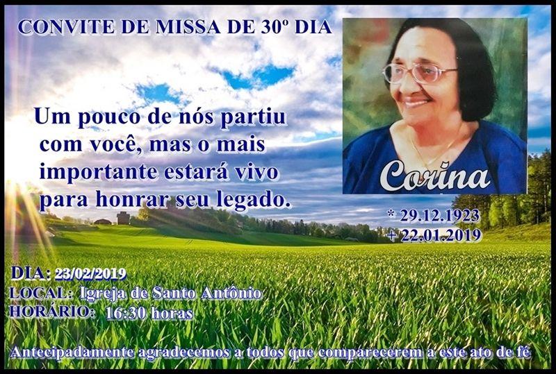 Família convida para Missa de 30º Dia por alma de Dona Corina (mãe de Toinho Nascimento)